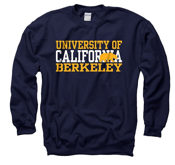 University Of California Berkeley 3 Stacks Mens Sweatshirt- Navy-Shop College Wear