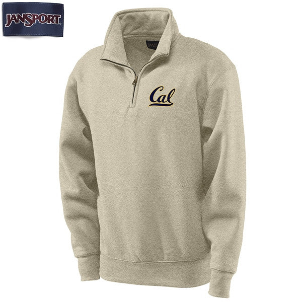 "University Of California Berkeley Cal Jansport 1/4"" Zip Sweatshirt- Oatmeal-Shop College Wear"