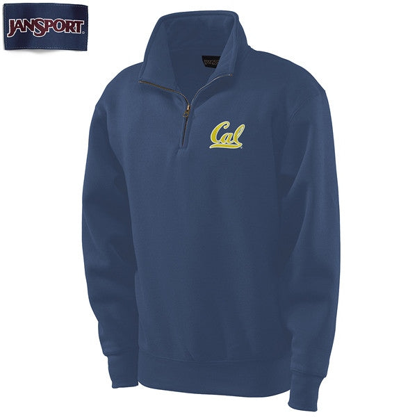 "University Of California Berkeley Cal Embroidered Jansport 1/4"" Zip Mens Sweatshirt- Navy-Shop College Wear"