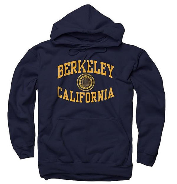 University Of California Berkeley Revere Arch & Seal Men's Hoodie Sweatshirt- Navy-Shop College Wear