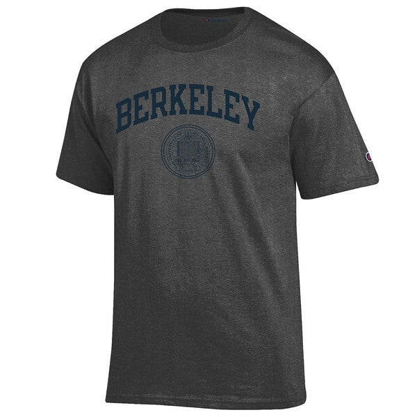 University Of California Berkeley Arch & Seal Men's T- Shirt- Charcoal-Shop College Wear