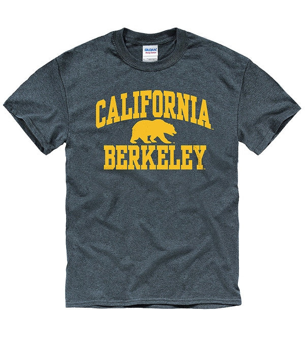 University Of California Berkeley Golden Bears Bold Arch Mens T- Shirt- Charcoal-Shop College Wear