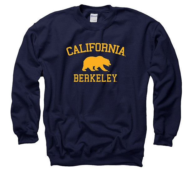 University Of California Berkeley Bear Mens Crew Sweatshirt- Navy-Shop College Wear