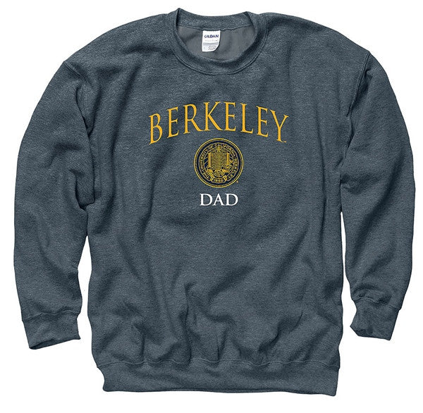 University Of California Berkeley Dad Crew Sweat Shirt- Charcoal-Shop College Wear