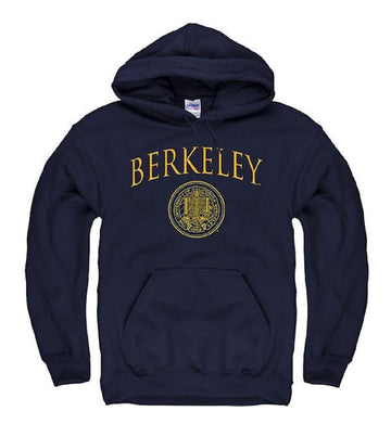 University Of California Berkeley Arch & Seal Thin Font Mens Hoodie Sweatshirt- Navy