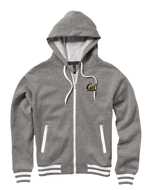 University Of California Berkeley Cal Embroidered Zip Jacket- Charcoal-Shop College Wear