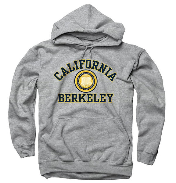 University Of California Berkeley 3 Color Seal Mens Straight Hoodie- Grey-Shop College Wear