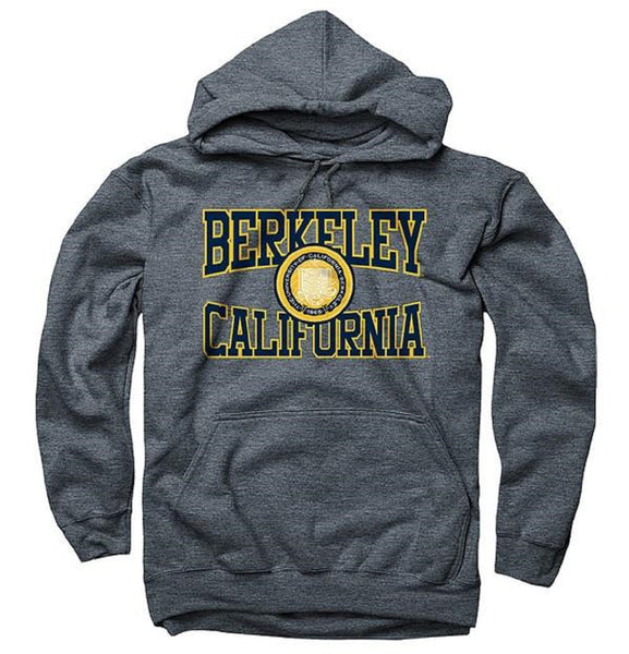 University Of California Berkeley 3 Color Seal Cut Out Men's Hoodie Sweatshirt- Charcoal-Shop College Wear