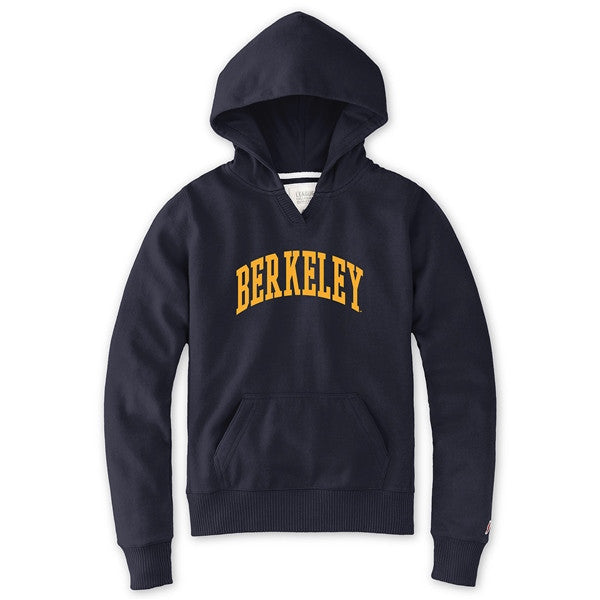 University Of California Berkeley League Women's Applique Hoodie Sweatshirt- Navy-Shop College Wear