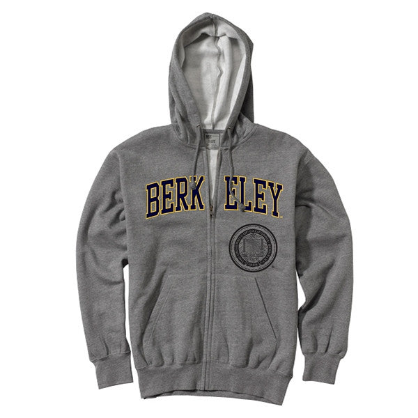 University Of California Berkeley Arch & Seal Mens Zip- Up Hoodie Sweatshirt- Charcoal-Shop College Wear