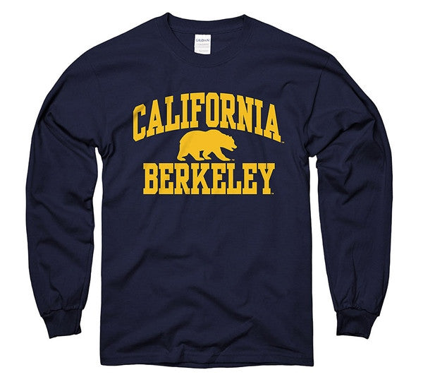 UC Berkeley Bold Arch Men's Long Sleeve T-Shirt- Navy-Shop College Wear