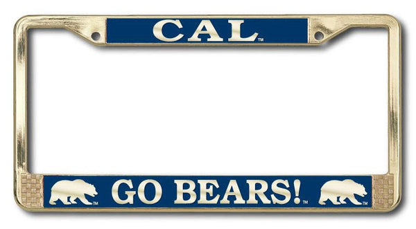 UC Berkeley Cal Go Bears Polished Brass License Plate Frame-Gold-Shop College Wear