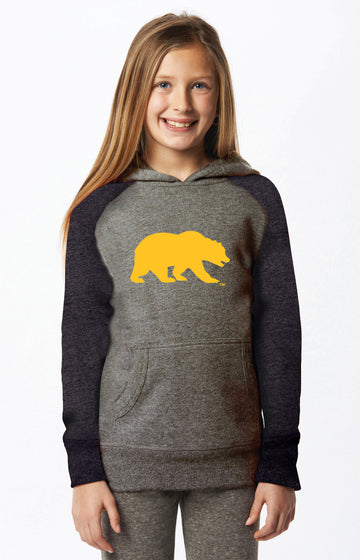 U.C. Berkeley Cal Bears Embroidered Youth Hoodie Sweatshirt Tri Blend-Gray