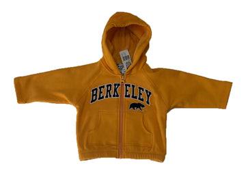 U.C. Berkeley Cal embroidered kids dry performance zip-up hoodie sweatshirt-Gold