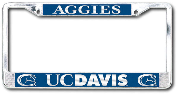 UC Davis Aggies Polished Chrome License Plate Frame-Silver-Shop College Wear