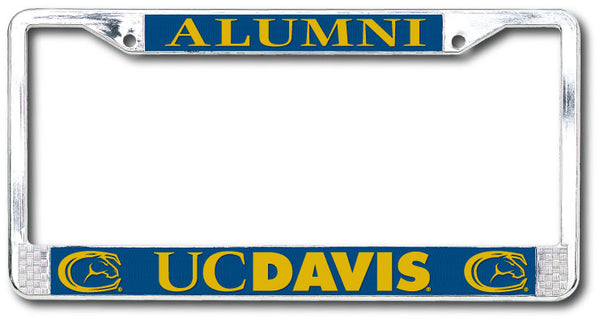 U.C. Davis Aggies Alumni Polished Chrome License Plate Frame-Silver-Shop College Wear