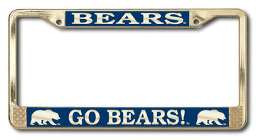 UC Berkeley Cal Polished Brass License Plate Frame- Gold