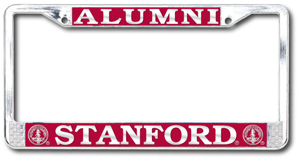 Stanford Cardinal Alumni Polished Chrome License Plate Frame-Silver-Shop College Wear