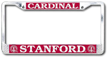 Stanford Cardinal Polished Chrome License Plate Frame - SILVER