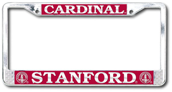 Stanford Cardinal Polished Chrome License Plate Frame - SILVER-Shop College Wear