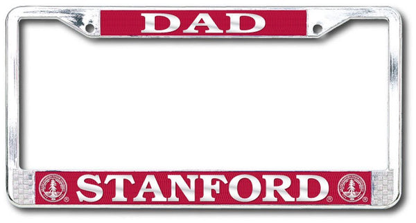Stanford Cardinal Dad Polished Chrome License Plate Frame - SILVER-Shop College Wear