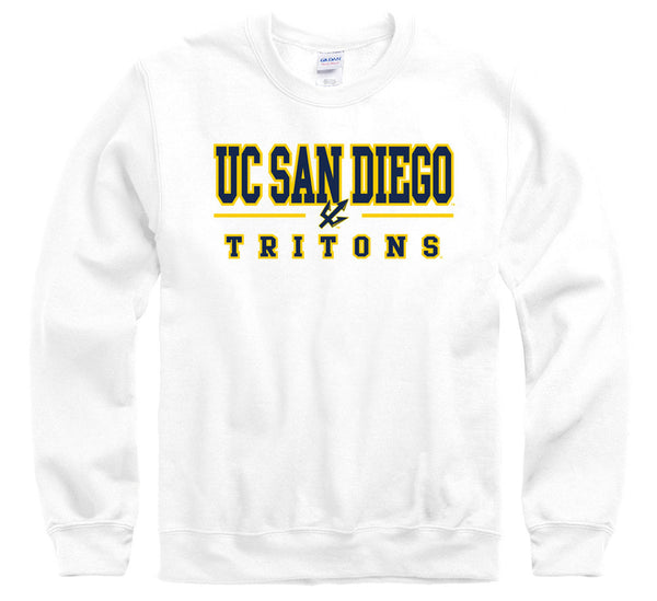 University of California San Diego UCSD Tritons crew neck sweatshirt-White-Shop College Wear