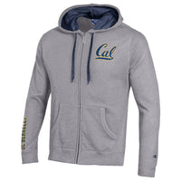 UC Berkeley Champion Cal Applique Zip-Up Hoodie Sweatshirt-Gray-Shop College Wear
