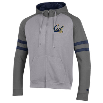 U.C. Berkeley Cal Embroidered Champion Zip-Up hoodie sweatshirt-Gray