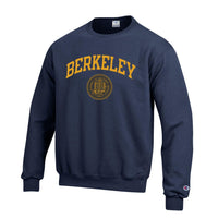 U.C. Berkeley Cal Bears arch & seal Champion crew-neck sweatshirt-Navy-Shop College Wear