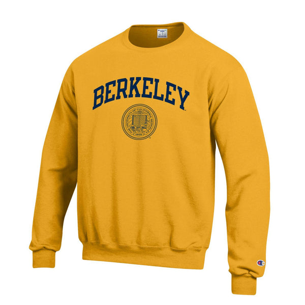 U.C. Berkeley Cal Arch & Seal Champion Crew-Neck Sweatshirt-Gold-Shop College Wear