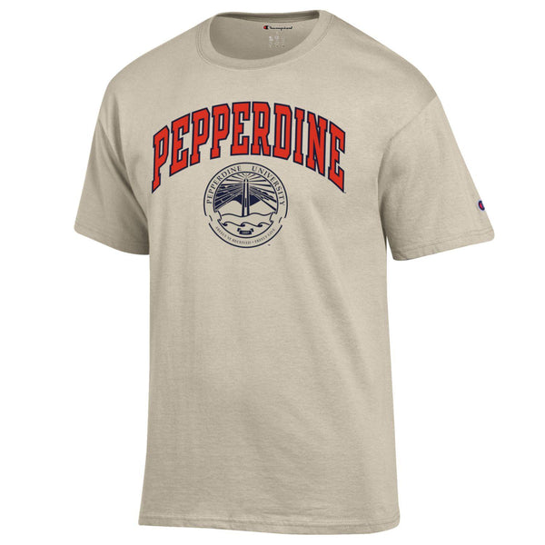 Pepperdine University arch & seal Champion T-Shirt-Oatmeal-Shop College Wear