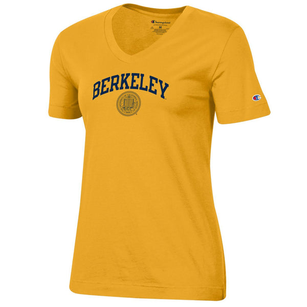 U.C. Berkeley arch and seal Champion Women's V-Neck T-Shirt-Gold-Shop College Wear