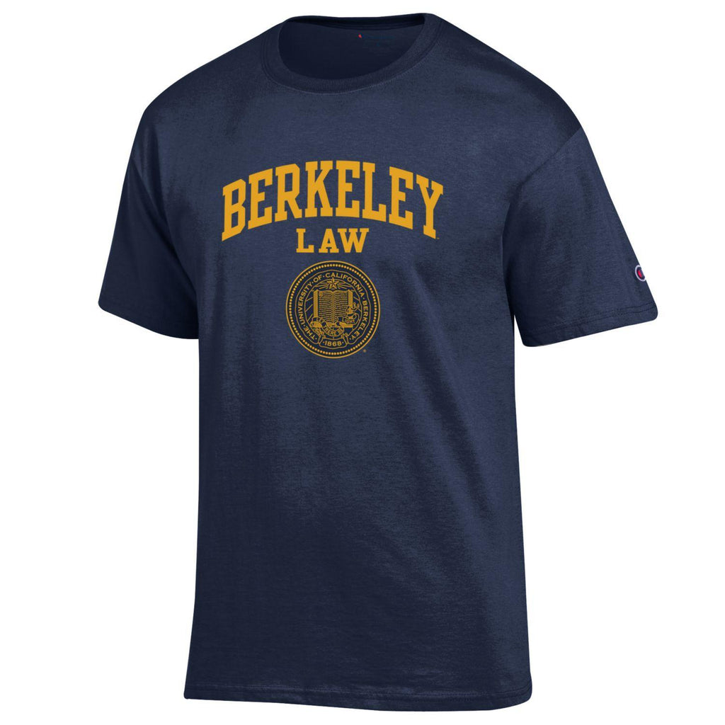 UC Berkeley Law Men's Double Arch Champion T-Shirt- Navy-Shop College Wear
