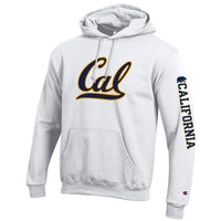 U.C. Berkeley Cal Script Bold Champion hoodie sweatshirt-White-Shop College Wear