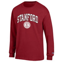 Stanford Cardinals Arch & Seal Men's Champion Long sleeve T-Shirt-Cardinal-Shop College Wear