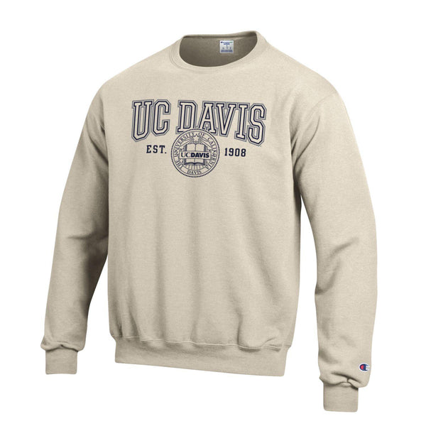 U.C. Davis Aggies Champion Crew-Neck Sweatshirt-Oatmeal-Shop College Wear