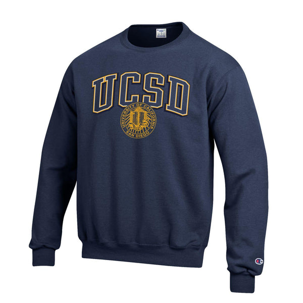 U.C. San Diego Tritons Block & Seal Crew-Neck Sweatshirt-Navy-Shop College Wear