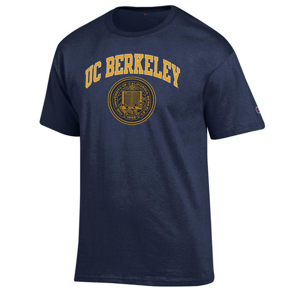 UC Berkeley Arch $ Seal Men's Champion T-Shirt-Navy-Shop College Wear