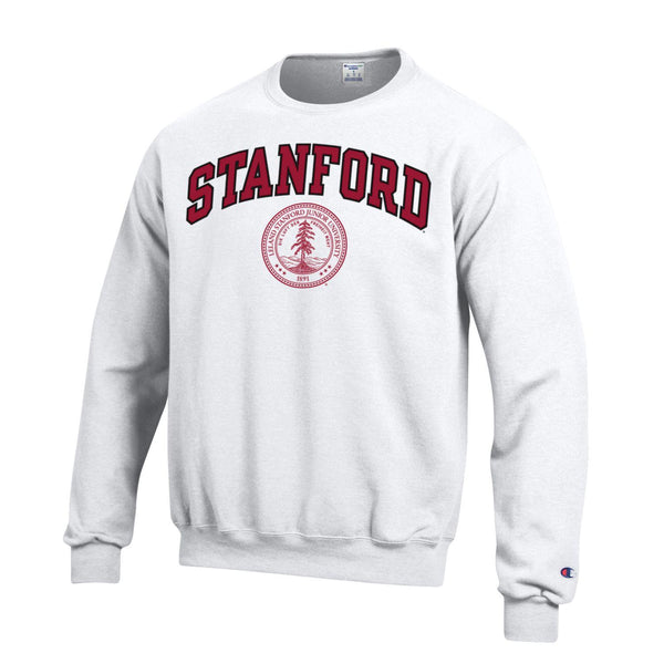 Stanford University Men's Arch & Seal Crew-Neck Sweatshirt-White-Shop College Wear