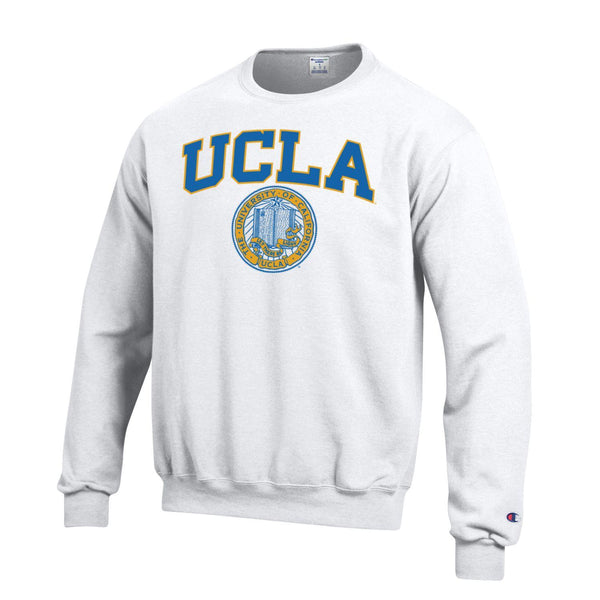 University Of California Los Angeles UCLA Block & Seal Crew Neck Sweatshirt-White-Shop College Wear