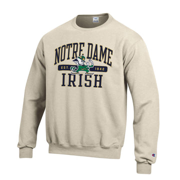 Notre Dame Fighting Irish Champion Crew Neck Sweatshirt-Oatmeal