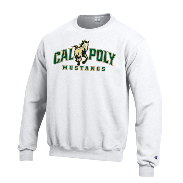 Cal Poly San Luis Obispo Mustang CrewNeck Sweatshirt-White-Shop College Wear