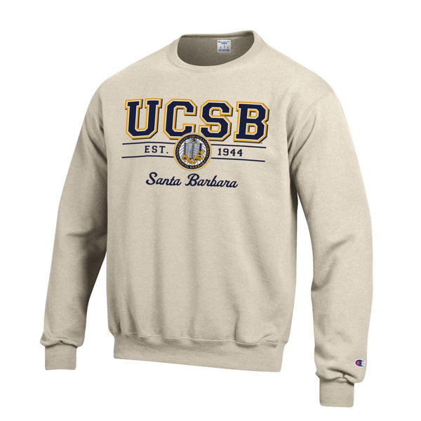 University Of California Santa Barbara UCSB Crewneck Sweatshirt-Oatmeal-Shop College Wear