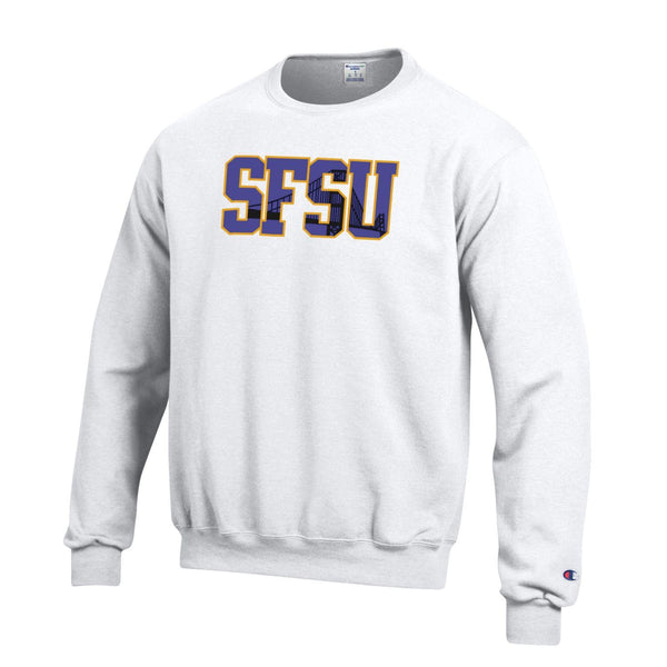 San Francisco State University Gators Crew-Neck Sweatshirt-White-Shop College Wear