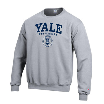 Yale University Bulldogs Champion Crew Neck Sweatshirt-Gray