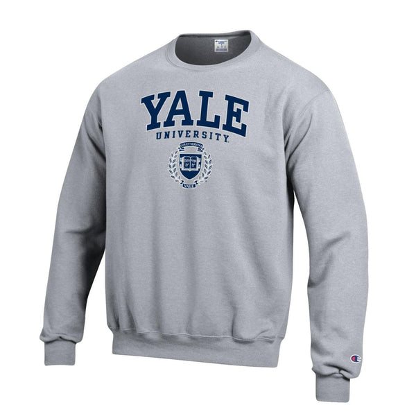 Yale University Bulldogs Champion Crew Neck Sweatshirt-Gray-Shop College Wear