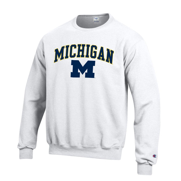 University of Michigan Wolverines Champion Crew Neck Sweatshirt-white-Shop College Wear