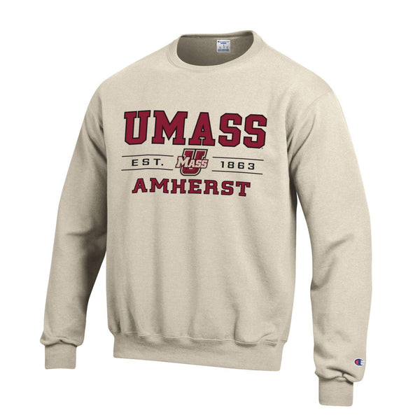 University of Massachusett Umass Amherst Champion crew-Neck sweatshirt-Oatmeal-Shop College Wear