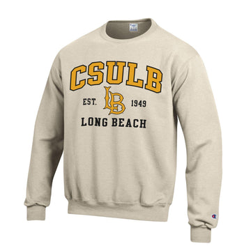 Cal State Long Beach CSULB Champion Crew Neck Sweatshirt-Oatmeal