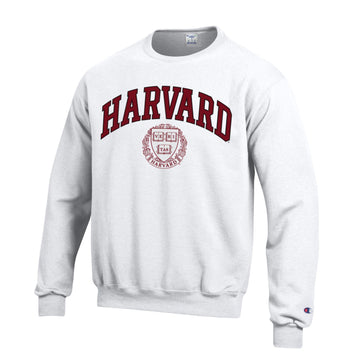 Harvard University Crimson Champion Crew-Neck Sweatshirt-White